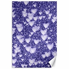 Hearts On Sparkling Glitter Print, Blue Canvas 24  X 36  by MoreColorsinLife