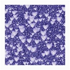 Hearts On Sparkling Glitter Print, Blue Medium Glasses Cloth by MoreColorsinLife