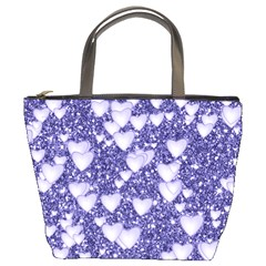 Hearts On Sparkling Glitter Print, Blue Bucket Bags by MoreColorsinLife