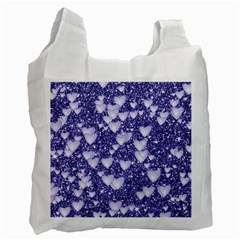 Hearts On Sparkling Glitter Print, Blue Recycle Bag (one Side) by MoreColorsinLife