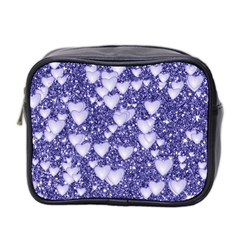 Hearts On Sparkling Glitter Print, Blue Mini Toiletries Bag 2 Side by MoreColorsinLife