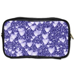 Hearts On Sparkling Glitter Print, Blue Toiletries Bags by MoreColorsinLife
