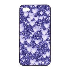 Hearts On Sparkling Glitter Print, Blue Apple Iphone 4/4s Seamless Case (black) by MoreColorsinLife