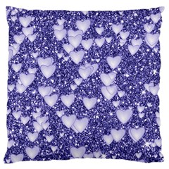 Hearts On Sparkling Glitter Print, Blue Large Cushion Case (one Side) by MoreColorsinLife
