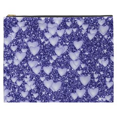 Hearts On Sparkling Glitter Print, Blue Cosmetic Bag (xxxl)  by MoreColorsinLife