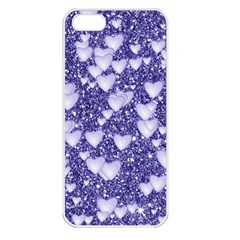 Hearts On Sparkling Glitter Print, Blue Apple Iphone 5 Seamless Case (white) by MoreColorsinLife