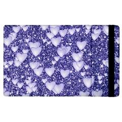 Hearts On Sparkling Glitter Print, Blue Apple Ipad 2 Flip Case by MoreColorsinLife