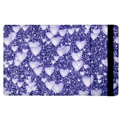 Hearts On Sparkling Glitter Print, Blue Apple Ipad 2 Flip Case by MoreColorsinLife