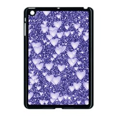 Hearts On Sparkling Glitter Print, Blue Apple Ipad Mini Case (black) by MoreColorsinLife