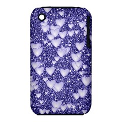 Hearts On Sparkling Glitter Print, Blue Iphone 3s/3gs by MoreColorsinLife
