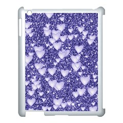 Hearts On Sparkling Glitter Print, Blue Apple Ipad 3/4 Case (white) by MoreColorsinLife