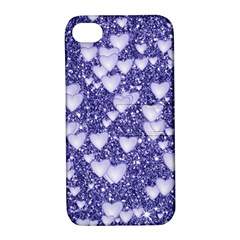 Hearts On Sparkling Glitter Print, Blue Apple Iphone 4/4s Hardshell Case With Stand by MoreColorsinLife