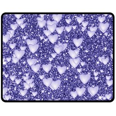 Hearts On Sparkling Glitter Print, Blue Double Sided Fleece Blanket (medium)  by MoreColorsinLife