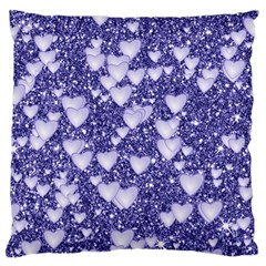 Hearts On Sparkling Glitter Print, Blue Large Flano Cushion Case (two Sides) by MoreColorsinLife