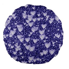 Hearts On Sparkling Glitter Print, Blue Large 18  Premium Flano Round Cushions by MoreColorsinLife