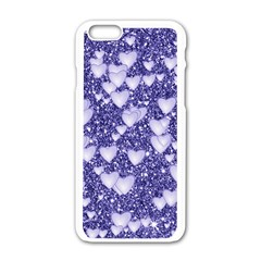 Hearts On Sparkling Glitter Print, Blue Apple Iphone 6/6s White Enamel Case by MoreColorsinLife