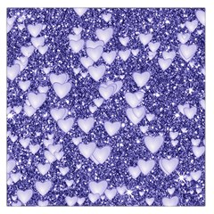 Hearts On Sparkling Glitter Print, Blue Large Satin Scarf (square) by MoreColorsinLife