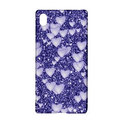 Hearts On Sparkling Glitter Print, Blue Sony Xperia Z3+ by MoreColorsinLife