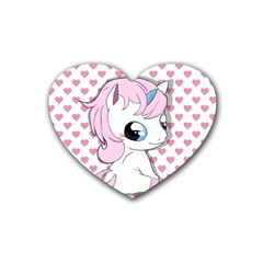 Baby Unicorn Rubber Coaster (heart)  by Valentinaart