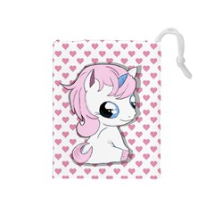 Baby Unicorn Drawstring Pouches (medium)  by Valentinaart