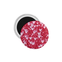 Hearts On Sparkling Glitter Print, Red 1 75  Magnets by MoreColorsinLife