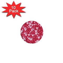 Hearts On Sparkling Glitter Print, Red 1  Mini Buttons (10 Pack)  by MoreColorsinLife