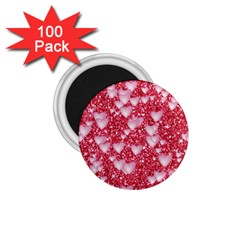 Hearts On Sparkling Glitter Print, Red 1 75  Magnets (100 Pack)  by MoreColorsinLife