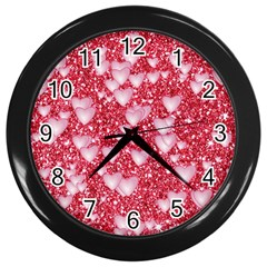 Hearts On Sparkling Glitter Print, Red Wall Clocks (black) by MoreColorsinLife
