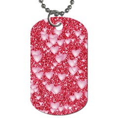 Hearts On Sparkling Glitter Print, Red Dog Tag (two Sides) by MoreColorsinLife