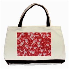Hearts On Sparkling Glitter Print, Red Basic Tote Bag by MoreColorsinLife