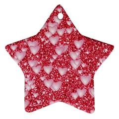 Hearts On Sparkling Glitter Print, Red Star Ornament (two Sides) by MoreColorsinLife