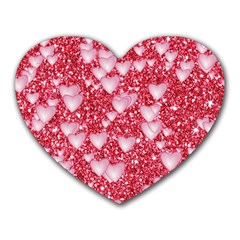 Hearts On Sparkling Glitter Print, Red Heart Mousepads by MoreColorsinLife