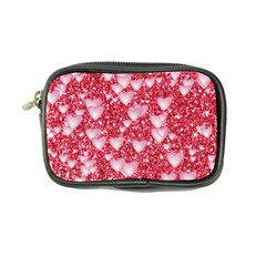 Hearts On Sparkling Glitter Print, Red Coin Purse by MoreColorsinLife