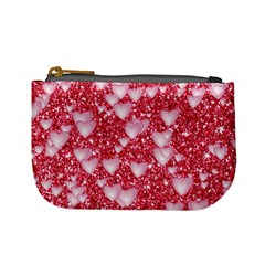 Hearts On Sparkling Glitter Print, Red Mini Coin Purses by MoreColorsinLife