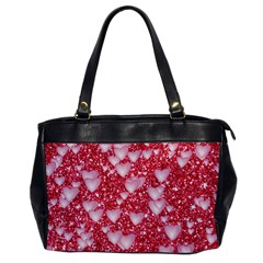 Hearts On Sparkling Glitter Print, Red Office Handbags by MoreColorsinLife
