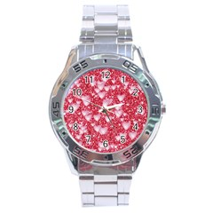 Hearts On Sparkling Glitter Print, Red Stainless Steel Analogue Watch by MoreColorsinLife