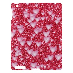 Hearts On Sparkling Glitter Print, Red Apple Ipad 3/4 Hardshell Case by MoreColorsinLife