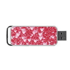 Hearts On Sparkling Glitter Print, Red Portable Usb Flash (two Sides) by MoreColorsinLife