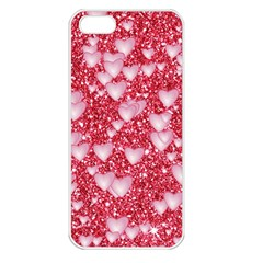 Hearts On Sparkling Glitter Print, Red Apple Iphone 5 Seamless Case (white) by MoreColorsinLife