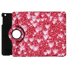 Hearts On Sparkling Glitter Print, Red Apple Ipad Mini Flip 360 Case by MoreColorsinLife