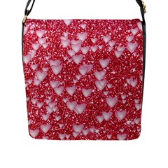 Hearts On Sparkling Glitter Print, Red Flap Messenger Bag (l)  by MoreColorsinLife