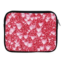Hearts On Sparkling Glitter Print, Red Apple Ipad 2/3/4 Zipper Cases by MoreColorsinLife