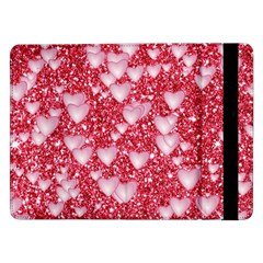 Hearts On Sparkling Glitter Print, Red Samsung Galaxy Tab Pro 12 2  Flip Case by MoreColorsinLife