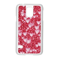 Hearts On Sparkling Glitter Print, Red Samsung Galaxy S5 Case (white) by MoreColorsinLife