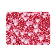 Hearts On Sparkling Glitter Print, Red Double Sided Flano Blanket (mini)  by MoreColorsinLife