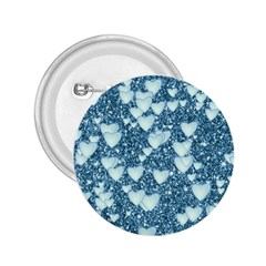 Hearts On Sparkling Glitter Print, Teal 2 25  Buttons by MoreColorsinLife