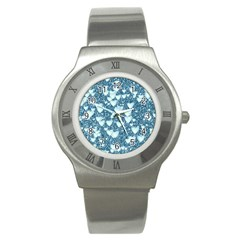 Hearts On Sparkling Glitter Print, Teal Stainless Steel Watch by MoreColorsinLife