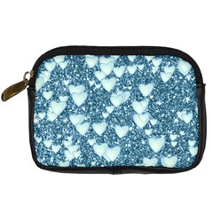 Hearts On Sparkling Glitter Print, Teal Digital Camera Cases by MoreColorsinLife