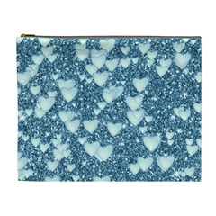 Hearts On Sparkling Glitter Print, Teal Cosmetic Bag (xl) by MoreColorsinLife