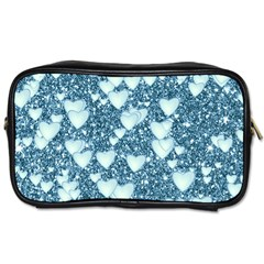 Hearts On Sparkling Glitter Print, Teal Toiletries Bags 2 Side by MoreColorsinLife